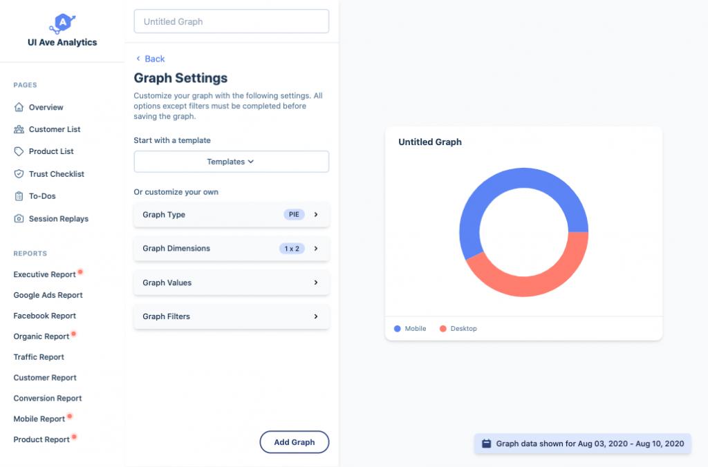 Create a custom report, graph settings